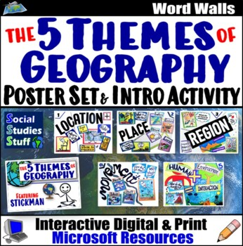 Five Themes of Geography | Classroom Poster Set & Intro Activity | 5 Themes