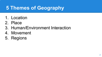 The Five Themes of Geography Power Point