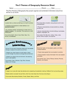 The Five Themes of Geography Resource Sheet