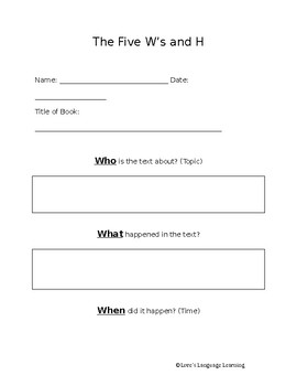 The Five W's and H Graphic Organizer