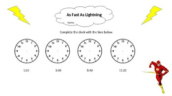 The Flash Superhero Clock Worksheet Printable