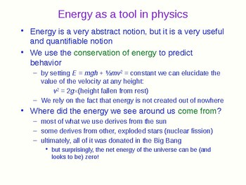 The Flow of Energy - Physics Quick Review and Presentation