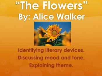 """The Flowers"" Alice Walker Literary Device Worksheet"