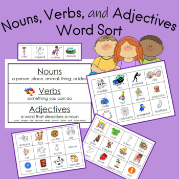 Nouns, Verbs, and Adjectives Center Sort to the book The F