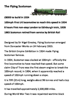 The Flying Scotsman (Train) Word Search