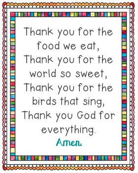 The Food We Eat Poster. Prayer, Grace, Blessings, Meals, Sunday School.