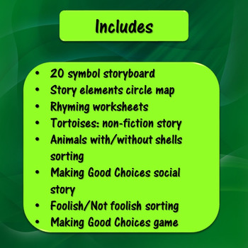 The Foolish Tortoise Literacy Unit for Special Education
