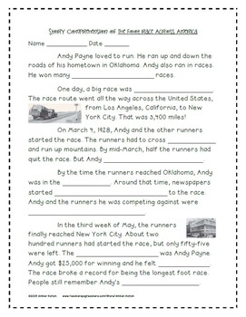 The Foot Race Across America Activities 3rd Grade Journeys Unit 6, Lesson 26