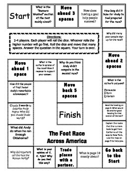 """""""The Foot Race Across America"""" Comprehension Game Journeys story 3rd grade"""
