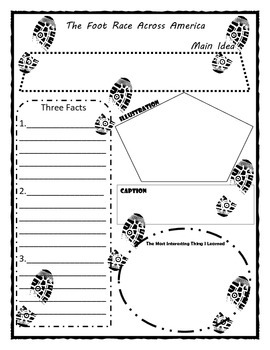 The Foot Race Across America Story Map Graphic Organizer
