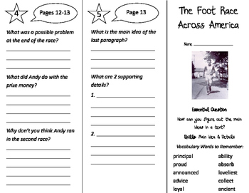 The Foot Race Across America Trifold - Journeys 3rd Grade