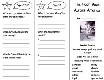 The Foot Race Across America Trifold - Journeys 3rd Gr Unit 6 Wk 1 (2014, 2017)