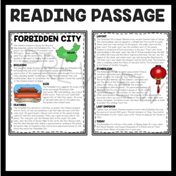 The Forbidden City Reading Comprehension; Ancient China; Beijing