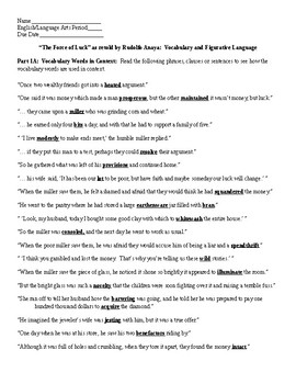 The Force of Luck retold by Rudolfo Anaya Vocabulary and Figurative Lang. & KEY