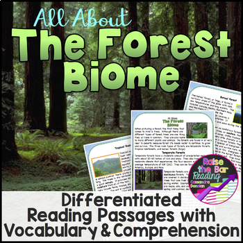 The Forest Biome Reading Passages (3 levels), Vocabulary & Comprehension