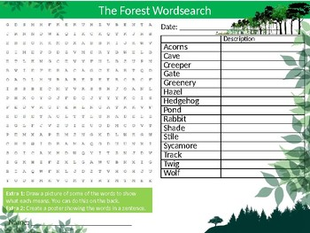 The Forest Wordsearch Sheet Starter Activity Keywords Cover Geography Nature