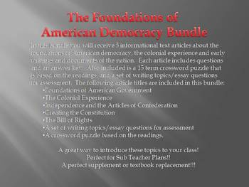 Info Reading Text Bundle: Foundations of American Democracy (No Prep/Sub Plans)