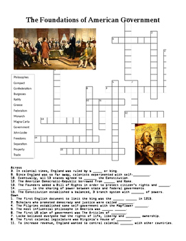 The Foundations of American Government Crossword or Web Quest