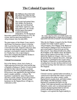 Info Text - Foundations of American Government: Colonial Experience (Sub Plans)