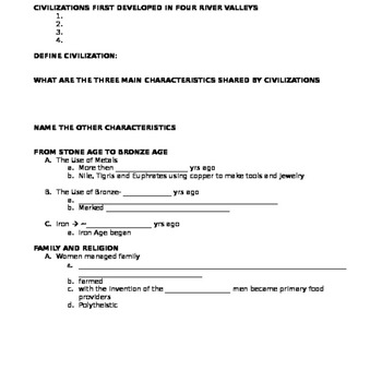 The Foundations of Civilizations Student Notes Page
