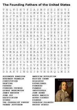 The Founding Fathers of the United States Word Search