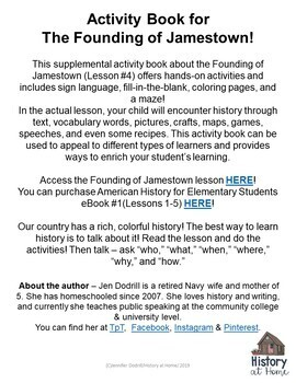 The Founding of Jamestown Activity Book