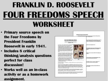 """""""The Four Freedoms"""" - Franklin Roosevelt - WWII - USH/APUSH"""