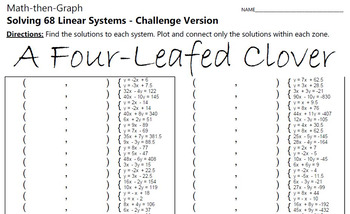 St.Patrick's Day - A Four-Leafed Clover - Math-Then-Graph 68 Systems - Challenge