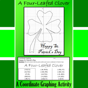St. Patrick's Day - A Four-Leafed Clover - A Coordinate Graphing Activity
