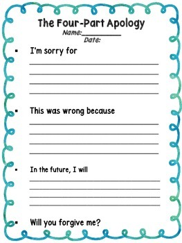 The Four Part Apology Anchor Chart, Worksheet & Mini Cards