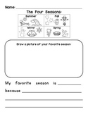 Four Seasons Writing - Worksheet and EASEL Activity