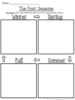 The Four Seasons Cut and Paste Sorting and Matching Activity