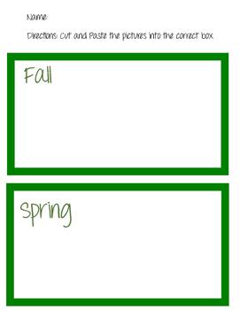 The Four Seasons Grade School Cut and Paste Worksheet