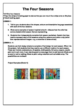 The Four Seasons - Visual Arts Project - Year 3-6