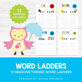 the four seasons word ladder sheets by extra sprinkle tpt