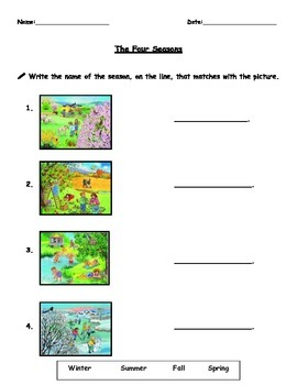 The Four Seasons matching activity