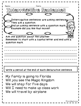 The Four Types of Sentences  activities