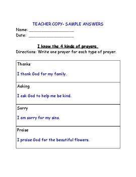 The Four Types of Prayers - Catholic School Curriculum