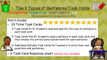 The Four Types of Sentences Task Cards Grades 3 to 5