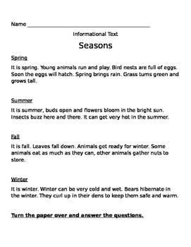 The Four seasons Vocabulary