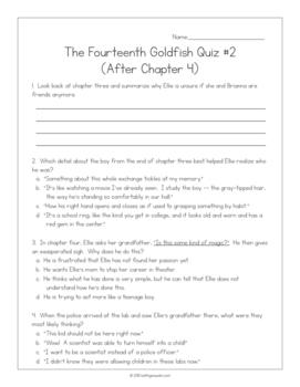 The Fourteenth Goldfish by Jennifer L. Holm:  15 Quizzes