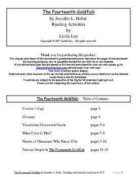 The Fourteenth Goldfish by Jennifer L. Holm:  Reading Activities