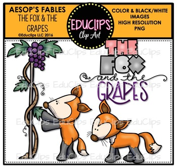 The Fox And The Grapes (Aesop's Fable) Clip Art Bundle {Educlips Clipart}