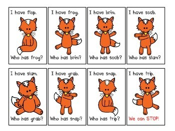 The Fox Says Blends. An I Have... Who has..? CCVC Word Game