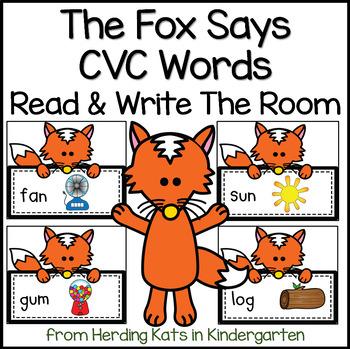 The Fox Says CVC Words! A Read & Write the Room Activity