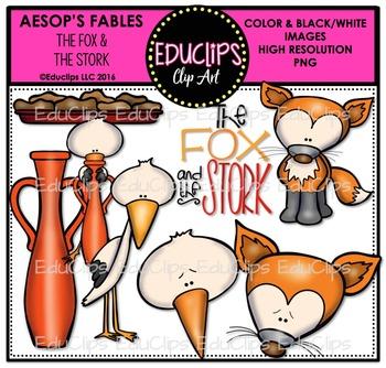 The Fox & The Stork (Aesop's Fable) Clip Art Bundle {Educlips Clipart}