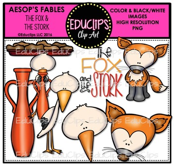 The Fox & The Stork (Aesop's Fable) Clip Art Bundle