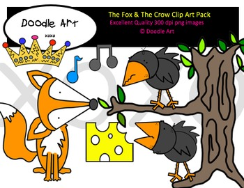 The Fox and The Crow Clipart Pack