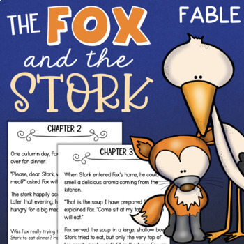 The Fox and The Stork Reading Comprehension Activity Book - Aesop's Fables