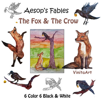 The Fox and the Crow Aesop's Fables clip art watercolor illustrations